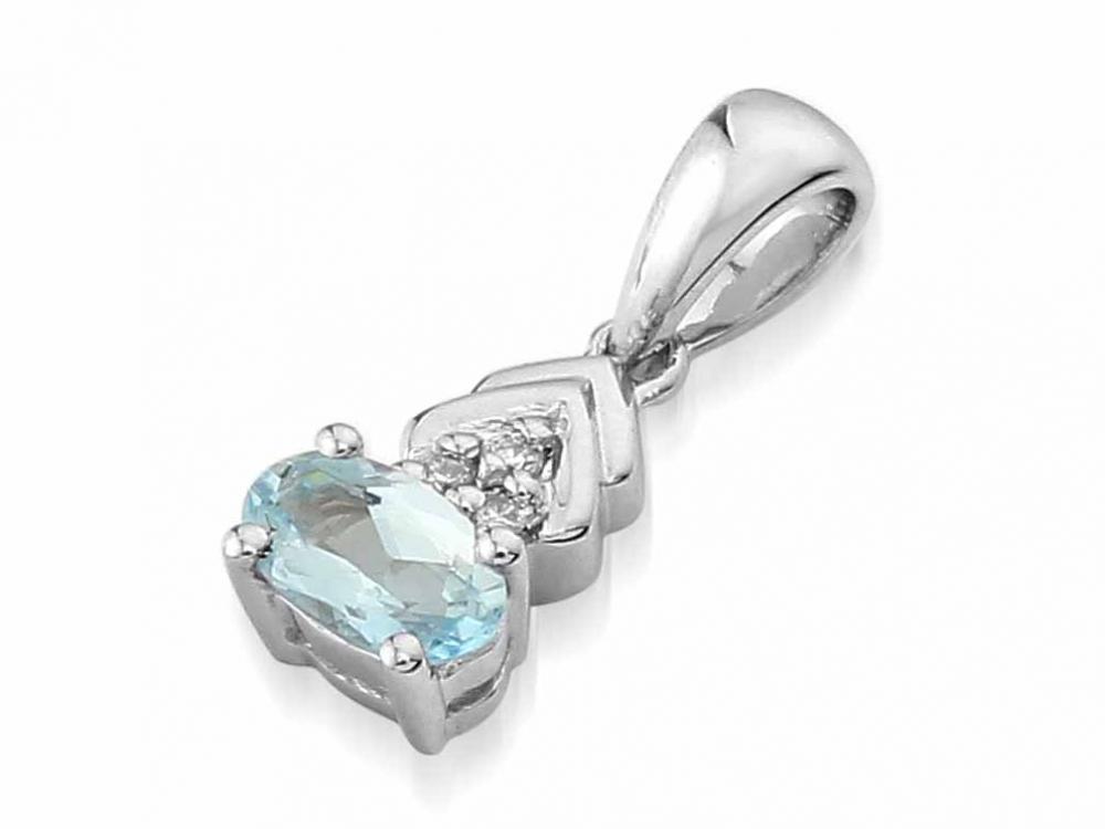 Přívěsk s diamantem, bílé zlato briliant, modrý topaz (blue topaz) 3870138-0-0-