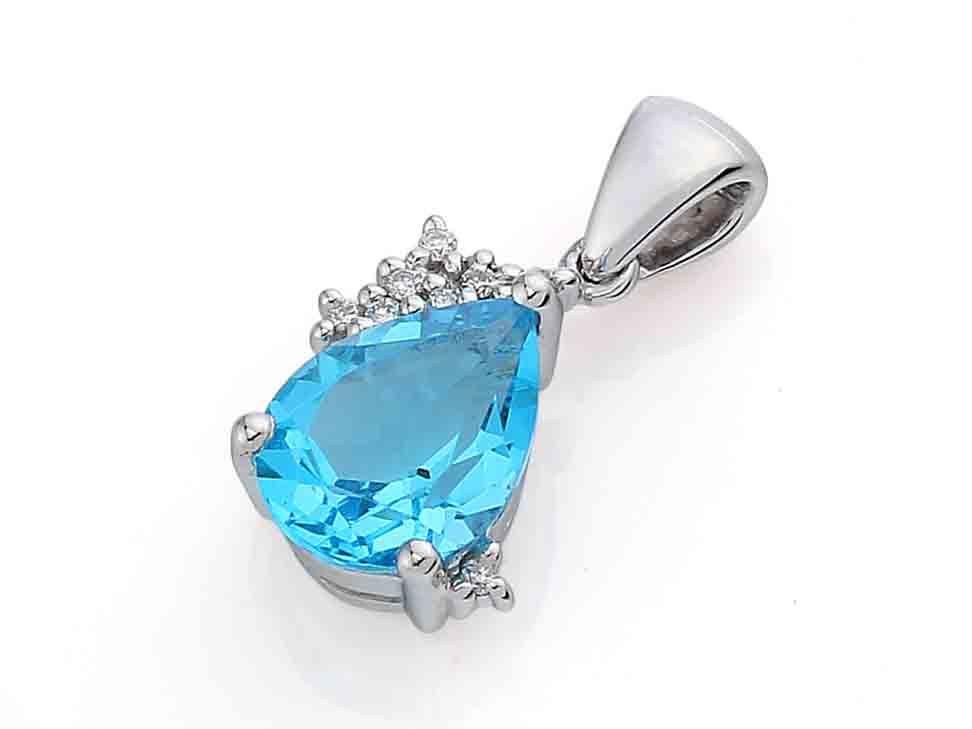 Přívěsk s diamantem, bílé zlato briliant, modrý topaz (blue topaz) 3870156-0-0-