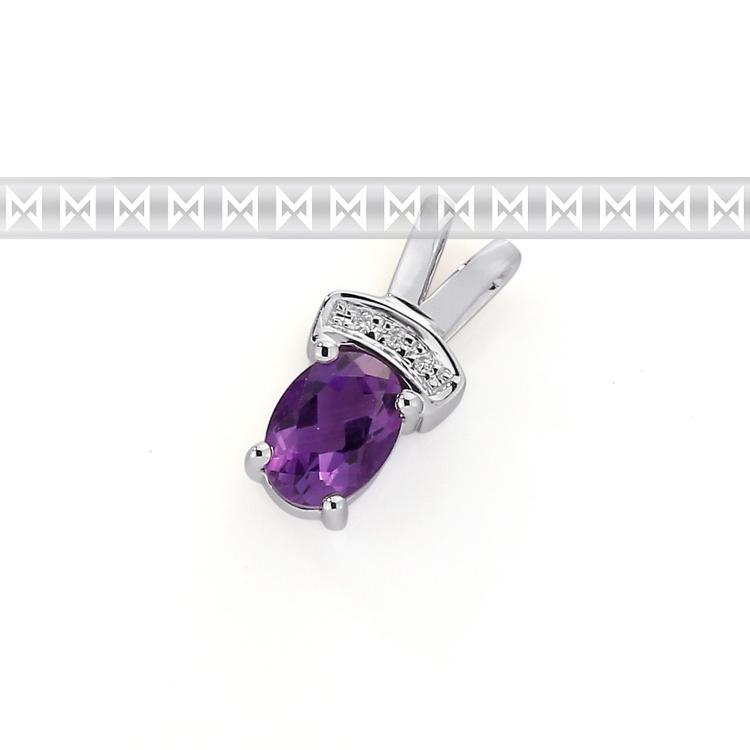 Přívěsk s diamantem, bílé zlato briliant, ametyst fialový 3870199-0-0-95