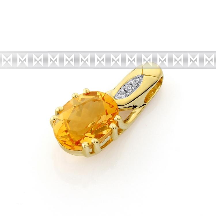 Diamantové zlatý přívěsek s citrínem ze žlutého zlata a diamanty 3820674-5-0-80
