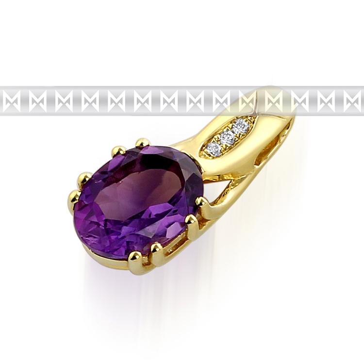 Zlatý diamantový přívěsek s fialovým ametystem a diamanty (3ks) 3820680-5-0-95
