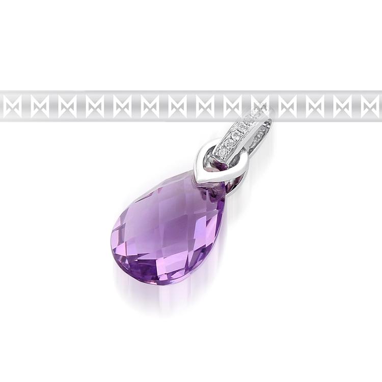 Přívěsk s diamantem, bílé zlato briliant, ametyst fialový 3870783-0-0-95