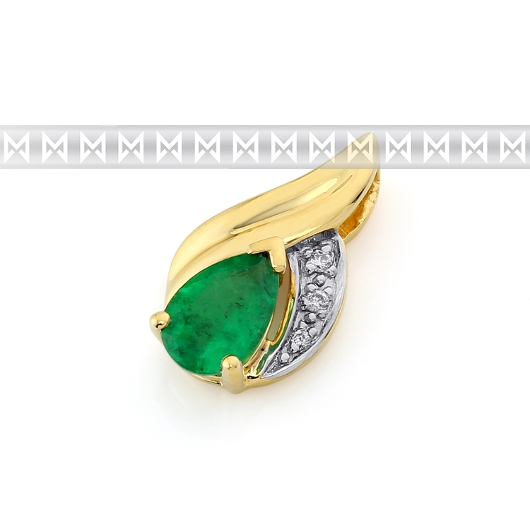 Přívěsk s diamantem, žluté zlato briliant, zelený smaragd - kombinace AU