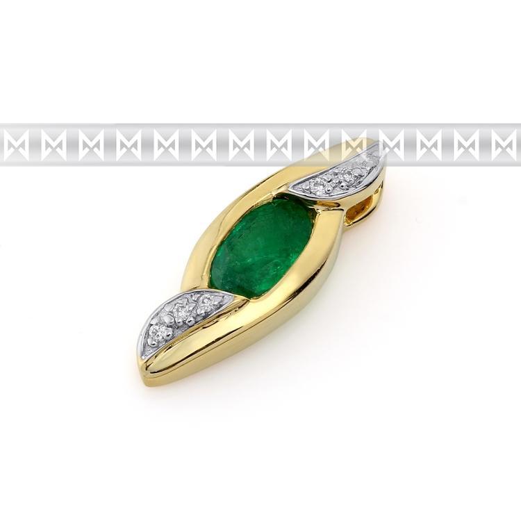 Přívěs s diamantem, žluté zlato briliant, smaragd (emerald) s diamanty (3820687-5-0-96)