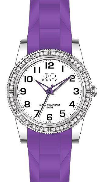 Dámské elegantní fialové hodinky JVD basic J7132.3 s kamínky 5ATM