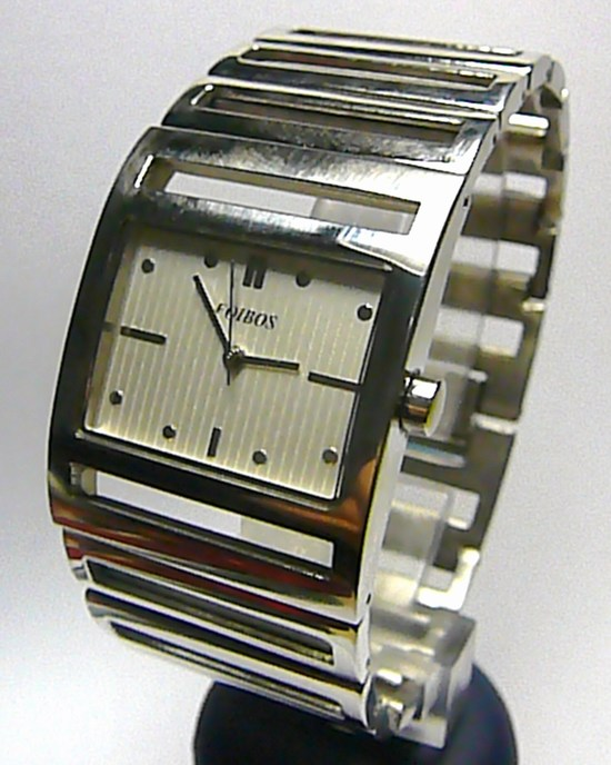 Dámské ocelové stříbrné hranaté čitelné hodinky Foibos 1648 3ATM