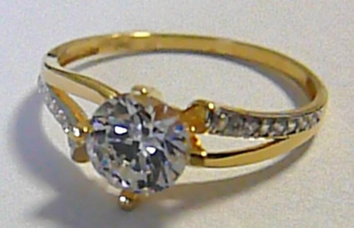 Zásnubní mohutný zlatý prsten s velkým zirkonem 585/1,75 gr vel. 58 P185