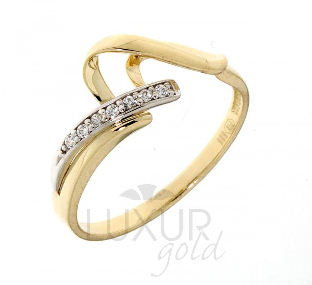 Luxusní velký zlatý prsten posetý zirkony z bílého a žlutého zlata 1110582-5-56-