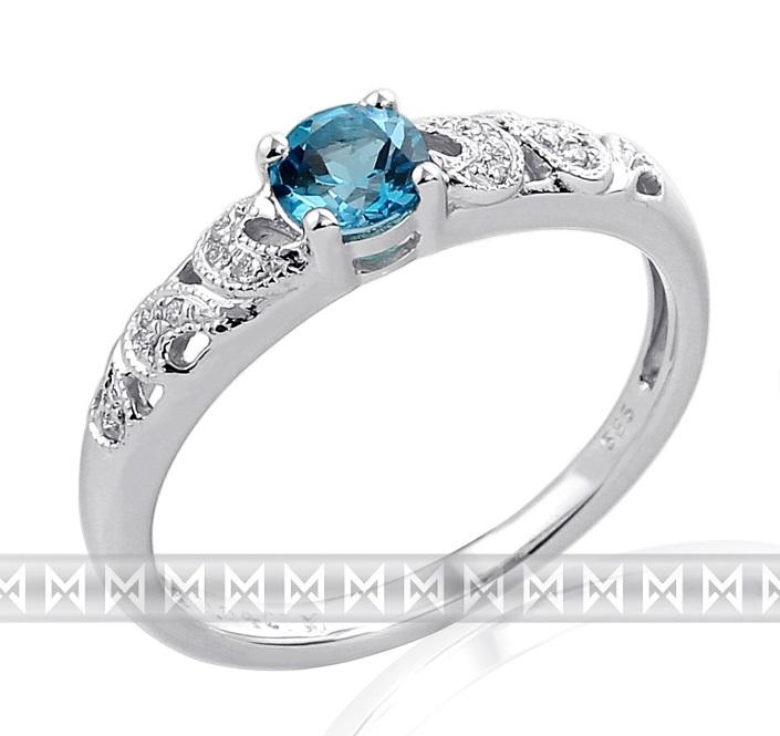Zásnubní prsten s diamantem, bílé zlato briliant, modrý topaz (blue topaz)