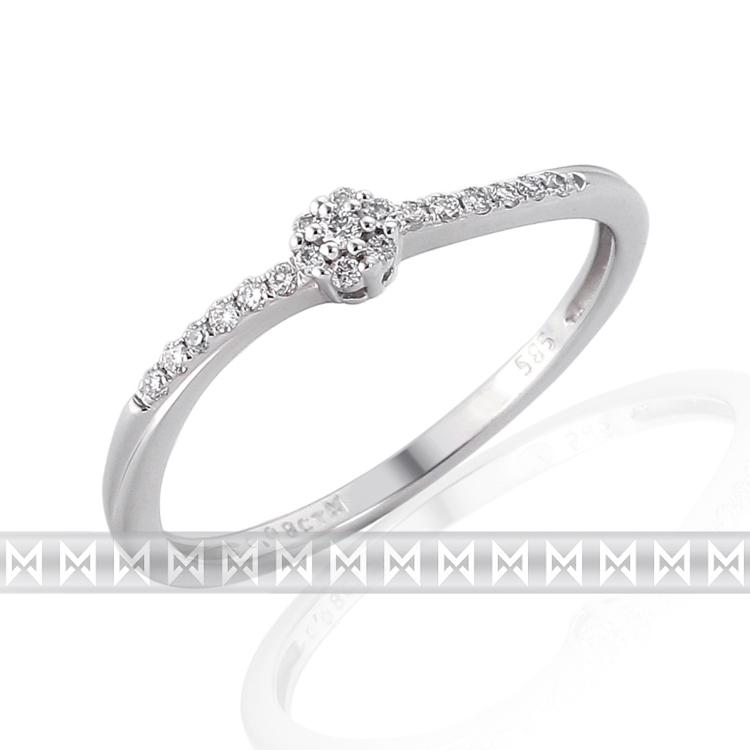Zásnubní prsten s diamantem, bílé zlato brilianty 19ks 3860753-0-52-99 (3860753-0-52-99)