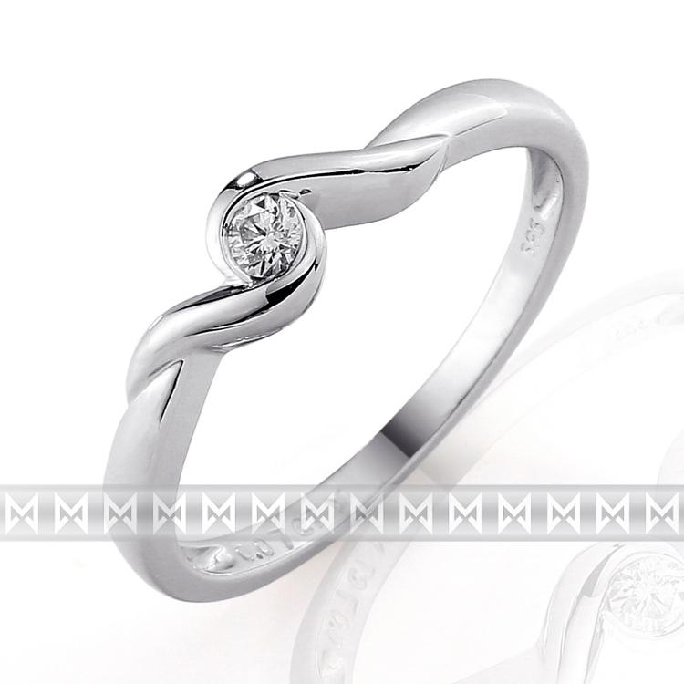 Zásnubní dívčí diamantový prsten s bílým diamantem z bílého zlata 3860038-0-53-