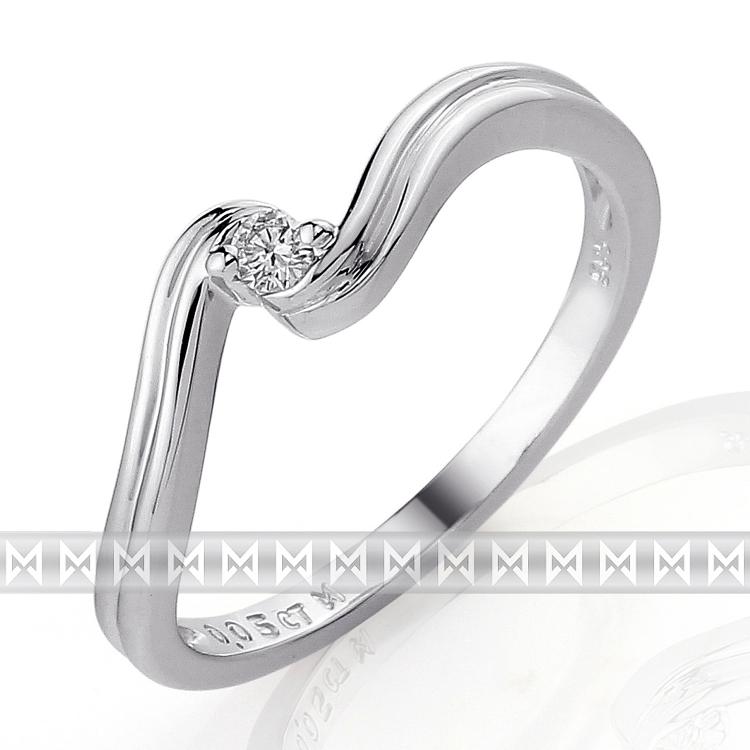 Zásnubní diamantový prsten s bílým diamantem z bílého zlata 3860089-0-51-99