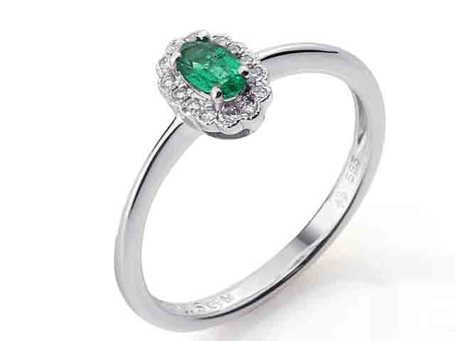 Luxusní diamantový prsten s diamanty a velkým zeleným smaragdem 3861084-0-53-96
