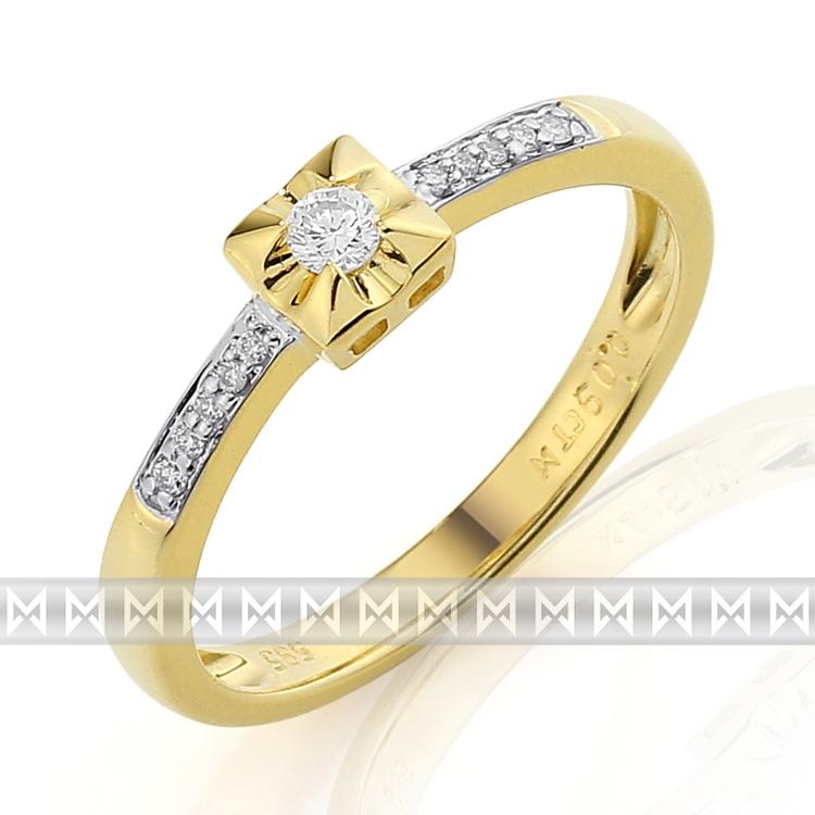 Zásnubní diamantový prsten ze žlutého zlata 3811287-5-51-99