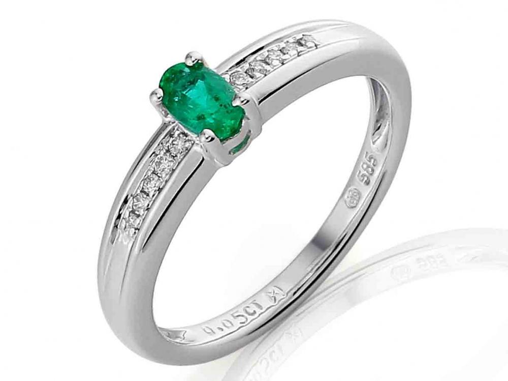 Prsten z bílého zlata - zásnubní s velkým zeleným smaragdem 3861141-0-51-96