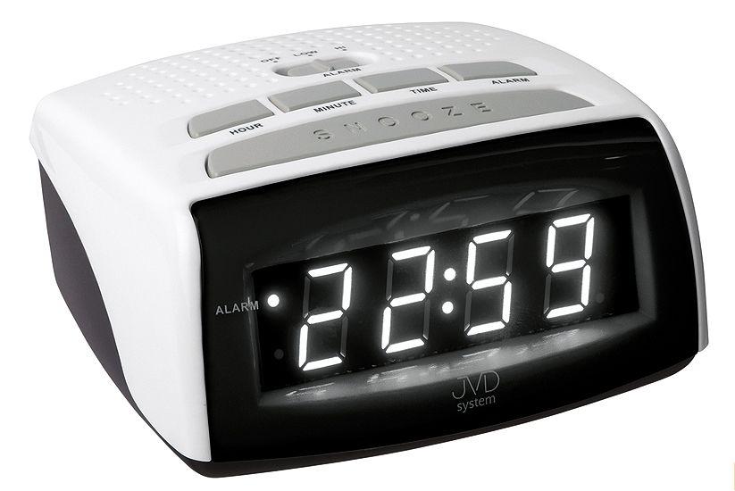 Černo bílý moderní digitální budík do el. sítě JVD LED system SB0720.7