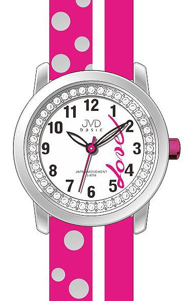 Dětské dívčí hodinky JVD basic J7137.2 zdobené kamínky pro zamilované děvčata