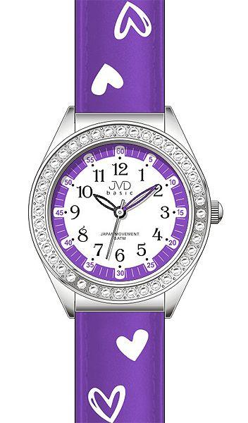 Dětské dívčí hodinky JVD basic J7117.3 se zirkony a srdíčky