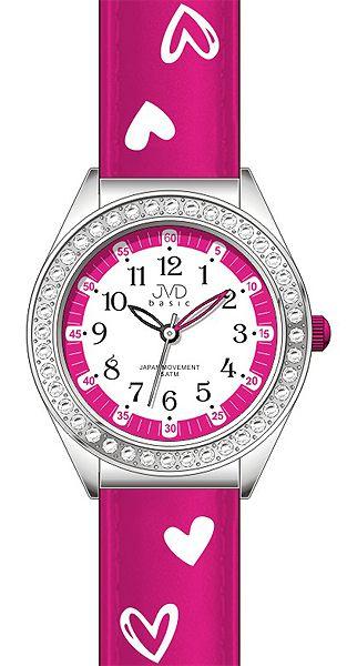 Dětské dívčí hodinky JVD basic J7117.5 se zirkony a srdíčky