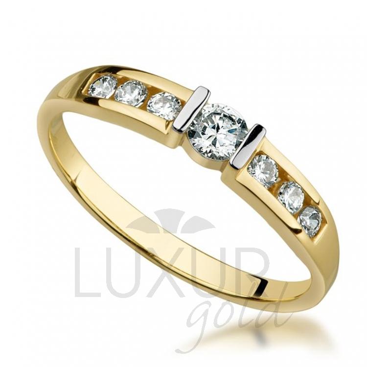 Luxusní zlatý exkluzivní prstýnek posetý mnoha zirkony 585/2,05 gr
