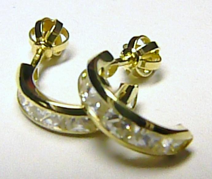 Zlaté půlkruhy - zlaté náušnice kruhy poseté zirkony (12 ks) 585/1,63gr Z021