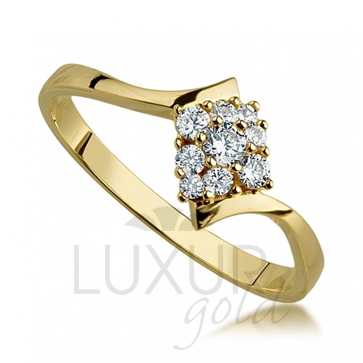 Luxusní moderní zlatý prstýnek posetý zirkony 585/1,67 gr 1850704-0-51-1