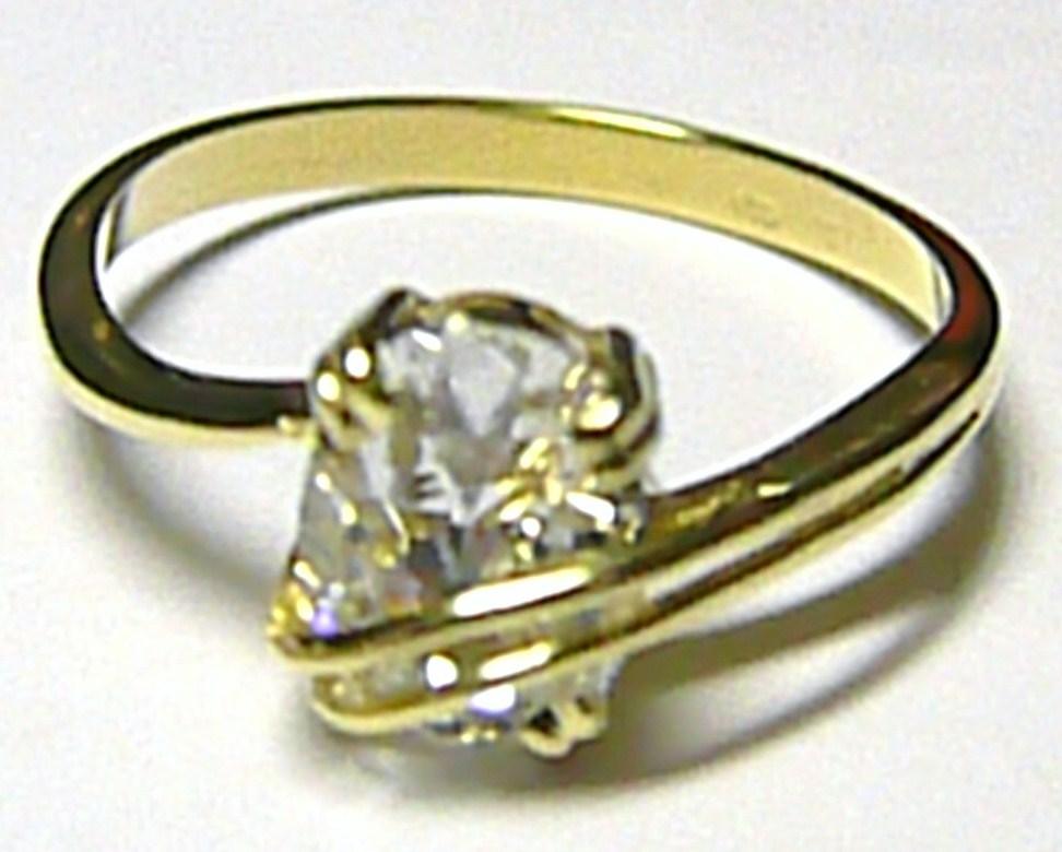 Mohutný elegantní zlatý prsten s velkým zirkonem (i zásnubní) vel.65 2,82gr Z031