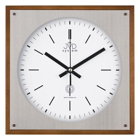 Rádiem řízené nástěnné hodiny JVD system RH28082/11 ve dřevě