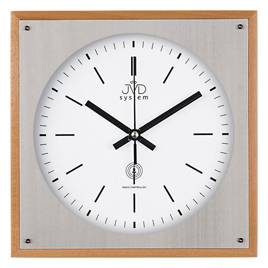 Rádiem řízené nástěnné hodiny JVD system RH28082/68 ve dřevě