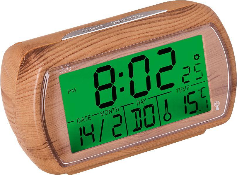 Světle dřevěný rádiem řízený digitální budík JVD RB78.3 s teploměrem