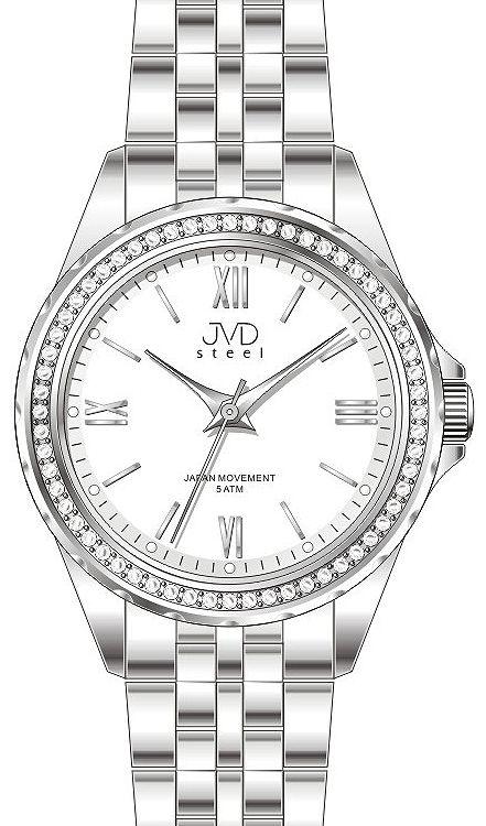 Dámské moderní náramkové hodinky JVD steel J4120.2 s ozdobnými kamínky 293032506f