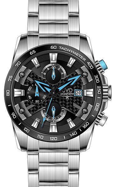 Luxusní vodotěsné sportovní hodinky JVD seaplane W51.1 chornograf se stopkami