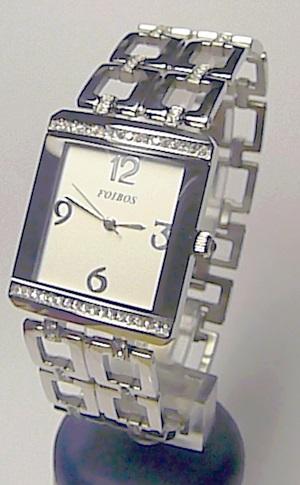 Luxusní ocelové dámské stříbrné hranaté hodinky Foibos 20844