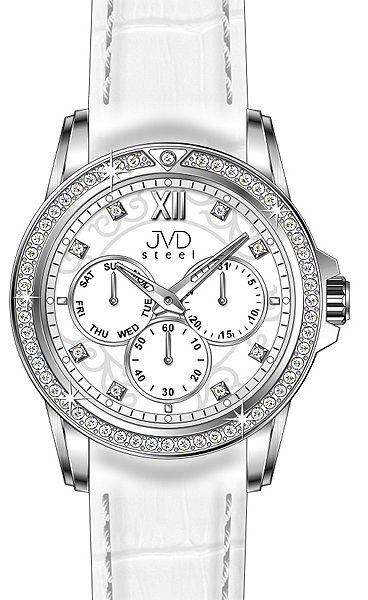 Dámské luxusní bílé vodě odolné náramkové hodinky JVD steel W53.1