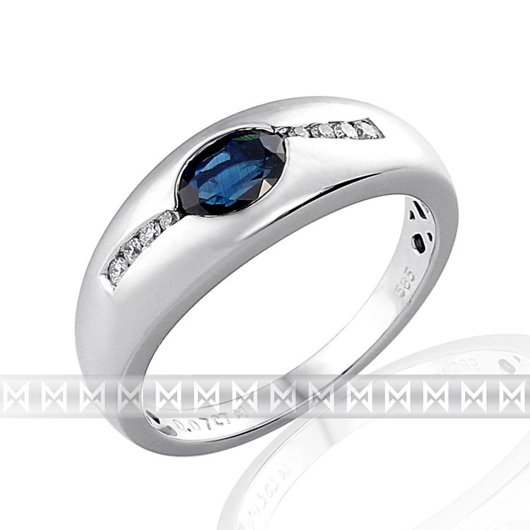 Mohutný zlatý prsten z bílého zlata s diamanty a modrým safírem 585/3,6 gr