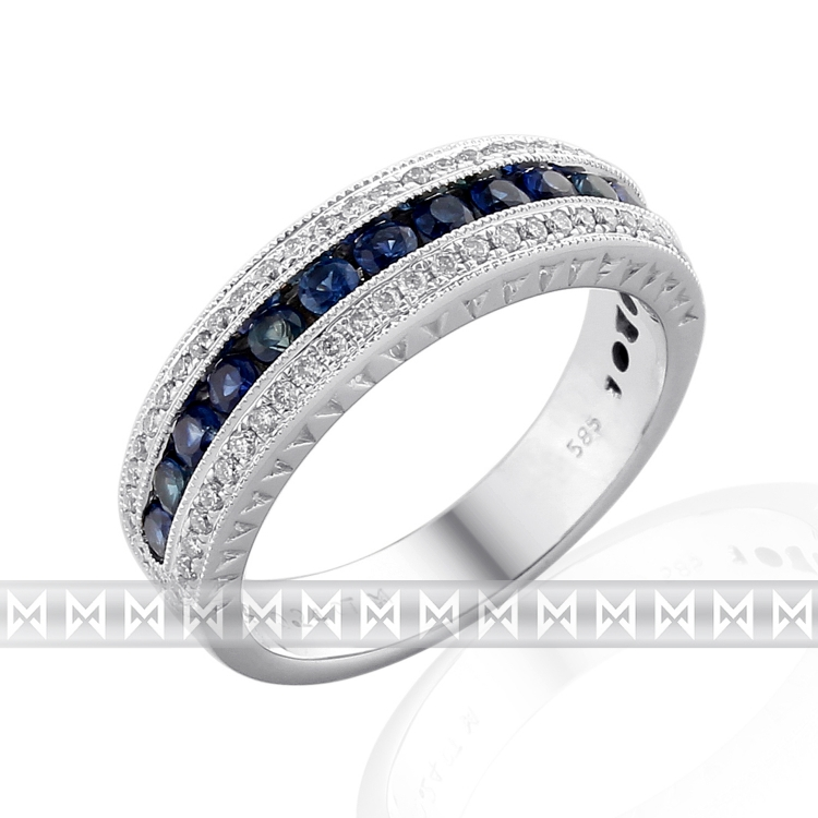 Diamantový prsten z bílého zlata posetý diamanty (60ks) a modrými safíry (13ks)