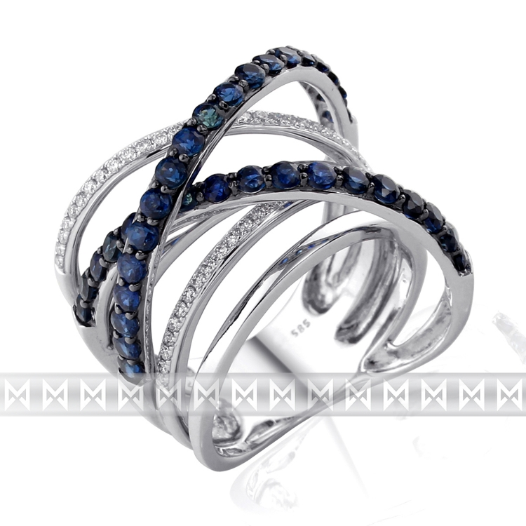 Diamantový zlatý prsten z bílého zlata s diamanty a modrými safíry 36ks/1,87ct