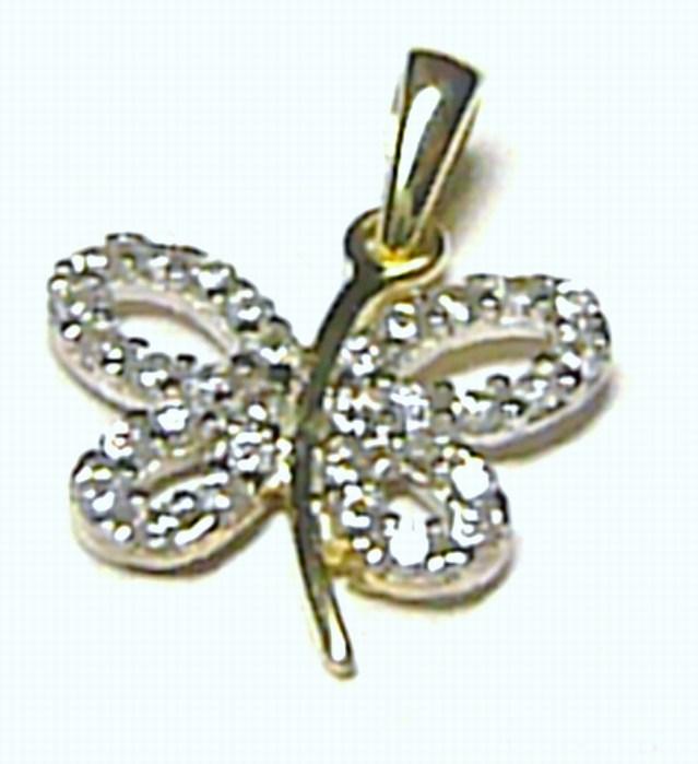 Zlatý přívěsek - čtyřlístek pro štěstí posetý zirkony 585/0,94 gr H146