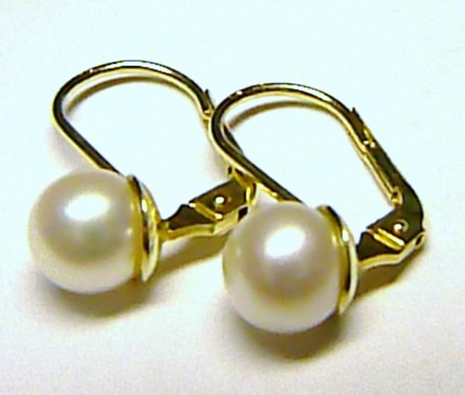 Dámské luxusní zlaté náušnice s bílými perlami pr.6 mm 585/2,01 gr 235040097