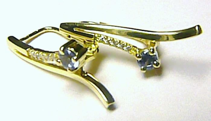 Luxusní mohutné zlaté náušnice se zirkony a akvamarínem 585/2,78 gr Z033