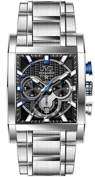 Hranaté luxusní moderní černé hodinky JVD seaplane W54.3 - chronografy