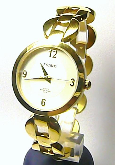 Dámské zlaté ocelové kulaté hodinky Foibos 21751