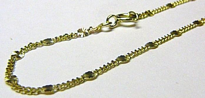 Dámský silný pevný zlatý náramek s gravírováním 585/1,03gr 19cm H166
