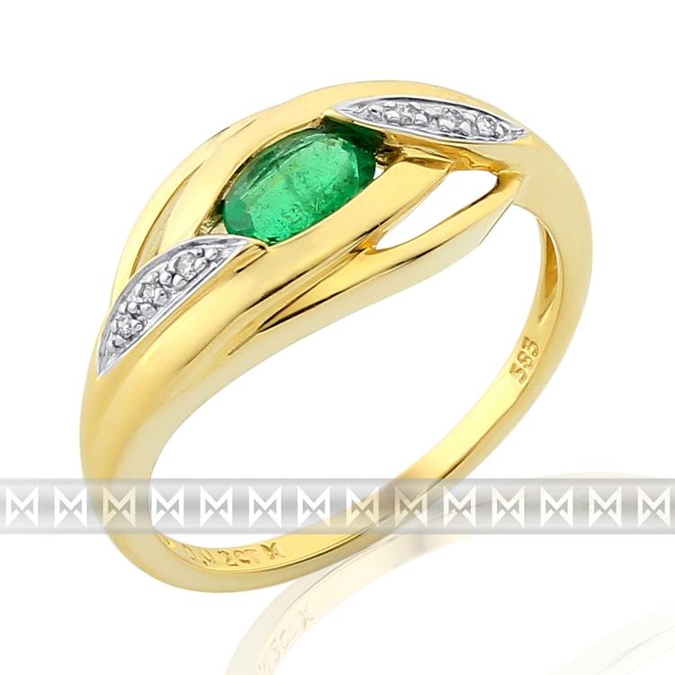 Diamantový zlatý prsten ze žlutého zlata se smaragdem (0,45ct) 585/3,05gr