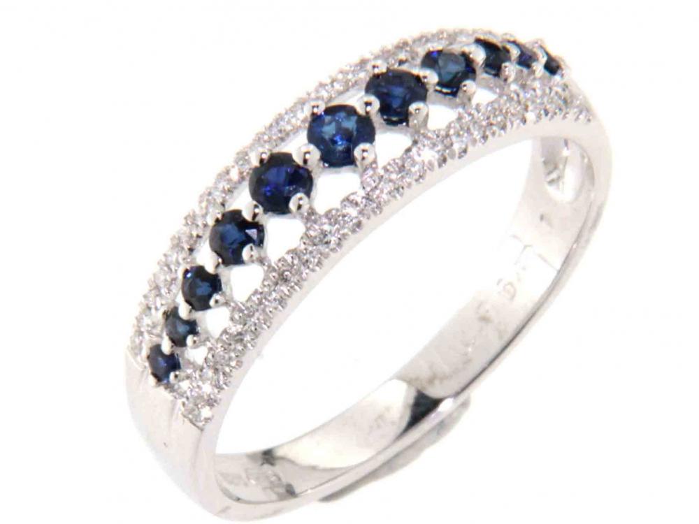 Luxusní mohutný diamantový prsten posetý diamanty a modrými safíry 585/2,3gr