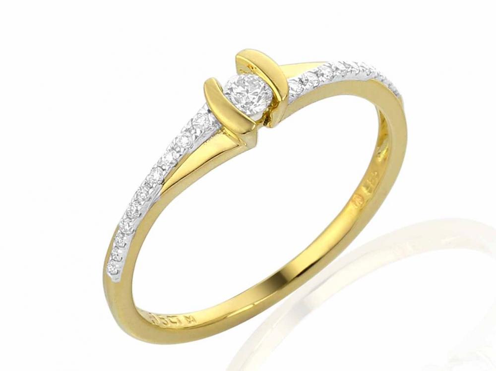 Diamantový prsten GEMS diamonds, žluté zlato posetý diamanty 21ks 0,15ct