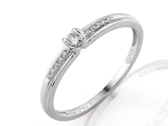 Zásnubní prsten s diamantem, bílé zlato brilianty 585/1,35 3860829