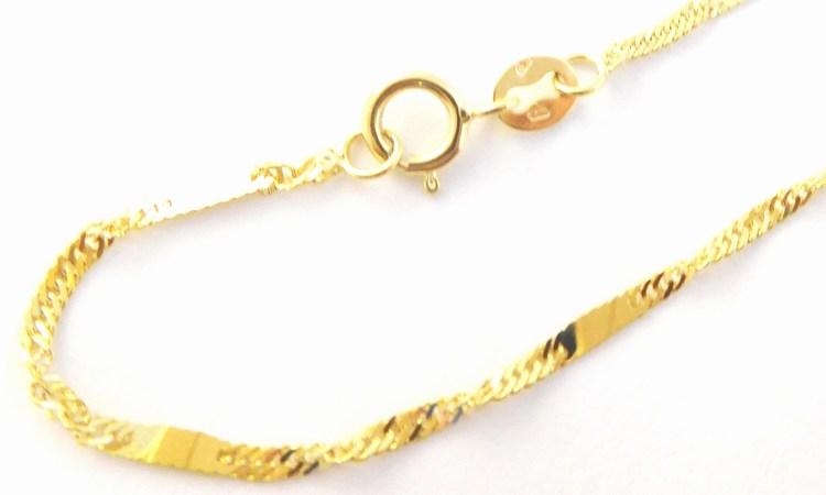 Mohutný dámský zlatý točený náramek (lambáda) s ploškami 585/0,95gr 20cm H177