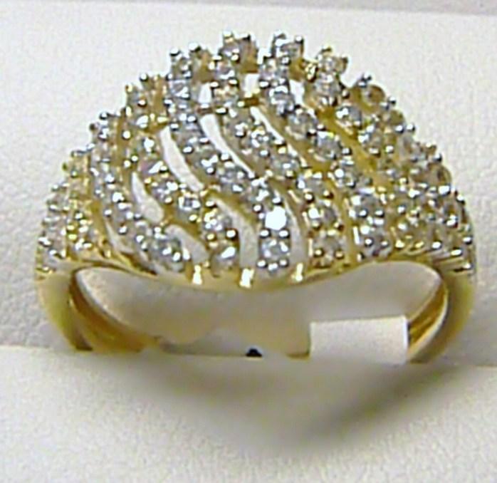 Luxusní mohutný velký zlatý prsten posetý zirkony (35 ks) 585/1,76gr vel.56 H215