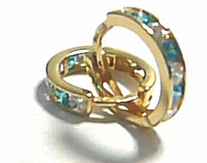 Zlaté kruhy - zlaté kroužky s světle modrými zirkony 585/1,12 gr pr. 12 mm P240